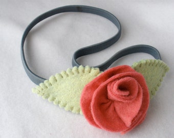 Stretch Elastic Headband, Handmade Felt Flower Hairband,  Gray with Pink Coral Rose