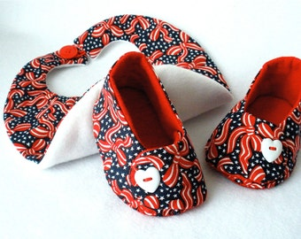Baby Shoes, Hand Sewn Girls Baby Booties, Fourth of July,  Red, White, Blue Gift Set,  Hand Stitched Booties and Bib,  Cotton Red Ribbon