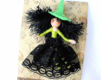 Witch Doll Pin, Witch Doll Brooch, HeartStrings Halfpenny Bendable Doll