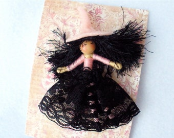 Witch Doll Pin, Witch Brooch, Halfpenny Bendy Doll, Halloween Brooch, Pale Pink Lapel, Scarf, Hat Pin