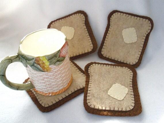 Felt Toast Coasters - MugMats Set of Four Buttered Toast