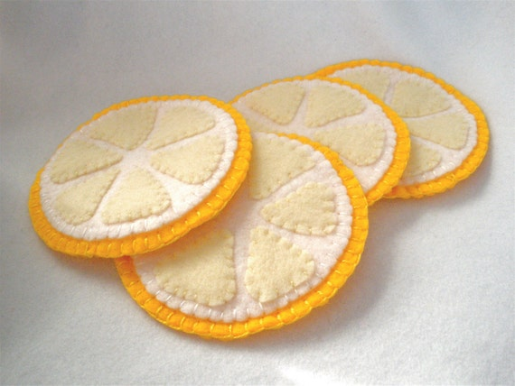 Felt Coasters, Lemon Slice Fruit Coasters, Hostess Gift, MugMats Set of Four Hand Stitched Citrus Coasters