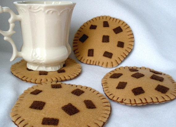 Felt Chocolate Chip Cookie Coasters, Hostess Gift,  MugMats Set of Four,  Hand Stitched Bakery Coaster