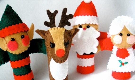 Felt Finger Puppet Set, Christmas Puppets, Santa Claus, Mrs. Claus, Rudolph Reindeer, Elf, Story Telling Props,  North Pole Gang
