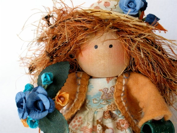 Clothespin Art Doll Little Gardener -  Peach and Blue Pegtales Believe in Tomorrow