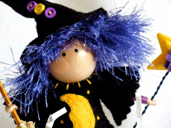 Clothespin Art Doll Witch - Purple Hair - Pegtales