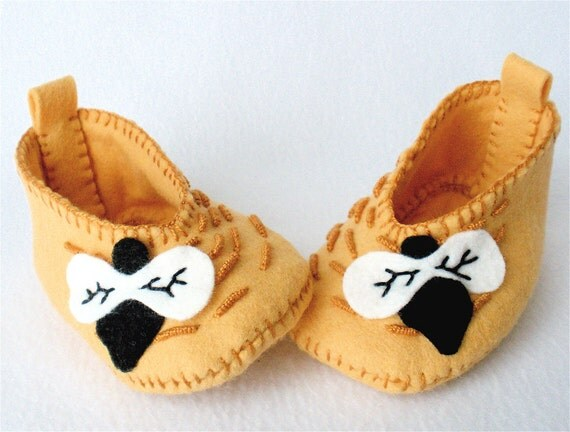 Bumblebee Baby Booties Wool Felt Honey Bee Skep Gold Hand Stitched