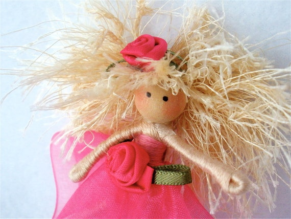 Doll Pin/Brooch Halfpenny Ballerina Pink with Blonde Hair