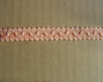 4 Yards=3.65 Meters of SALMON color Soft Gimp Braid Trim of Excellent Cotton Band - Braid - Tape - Scroll Braid Fabric Trim Gimp Lace