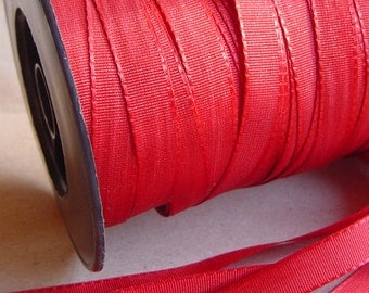 5 Yards = 4.57 Meters of Dark Red Reversible Satin Ribbon - Double Faced Satin - CHRISTMAS RED