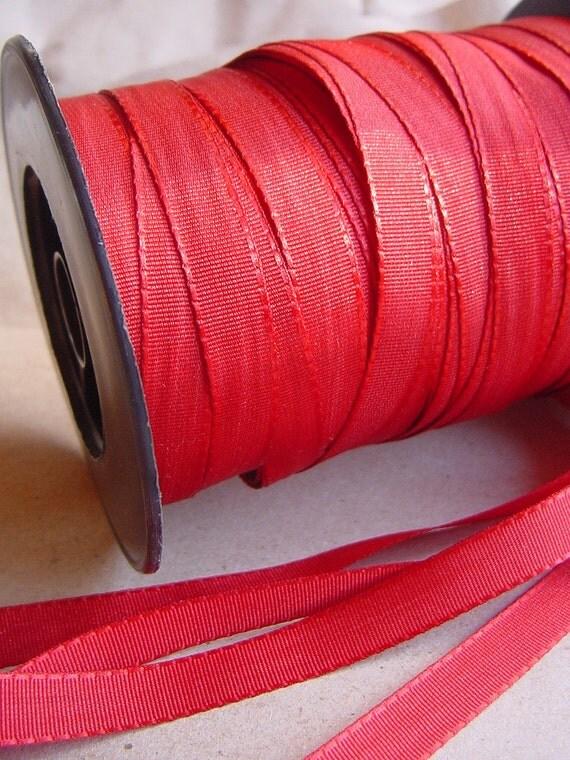10 mm x 5 yards Dark Red Reversible Satin Ribbon - Double Faced Satin - Trim - Braid - Tape