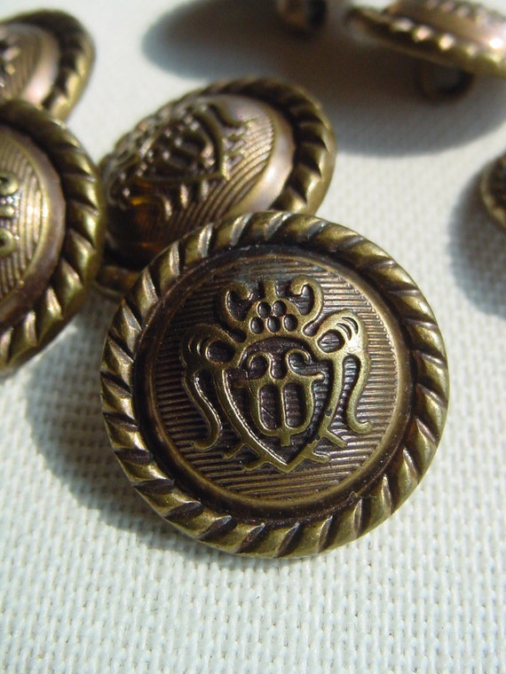 Rare Set with 9 Big Brass Plastic Vintage Buttons From my Grandmothers Button Box
