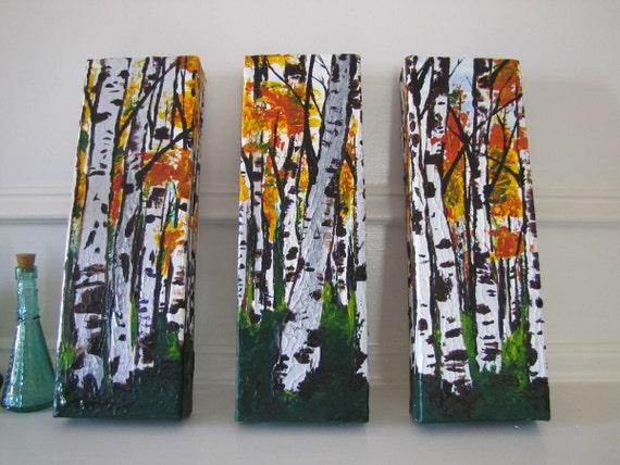MADE TO ORDER: Multi Panel Original Aspen/Birch Tree Woodland Autumn Fall Forest Landscape Art