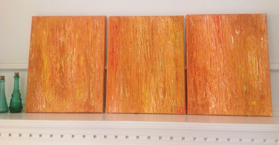SALE 50% OFF, impasto, textured, orange, sunshine, multi panel