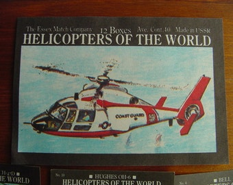 Helicopters of the World - Lot of Vintage Matchbox Stamp - Set of Illustration Matchbox Labels - Altered Arts Collage Destash
