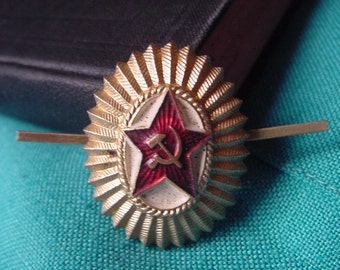 Vintage - USSR Soviet Army Officer Hat Badge - Pin - Cockade 1964 from Soviet Union - Mens Gifts - Christmas Gift - Hat Pins Vintage
