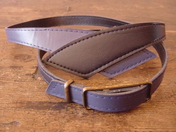 2 in 1 Elegant Vintage Black and Blue Skinny Belt with Antique Bronze Buckle ... a Fashionista Statement Piece Size XS S M