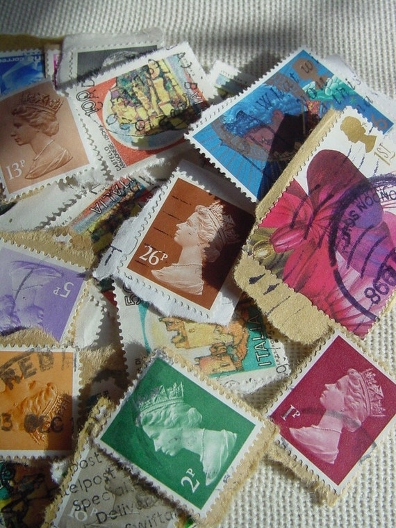 The Queen goes Around the World - Lot of 50 Vintage Cancelled Postage Stamps - Altered Arts Collage Destash - Mixed Media Collages