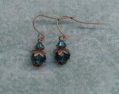 Aqua Crystal Bobble Earrings