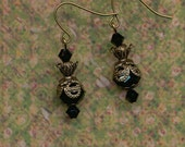 Black Crystal and Antique Gold Earrings