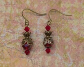 Red Crystal and Antique Gold Earrings