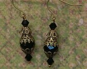 Black Crystal and Filagree Earrings