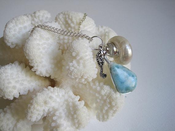 Treasures of the Sea: SEAHORSE, SEASHELL & LARIMAR necklace