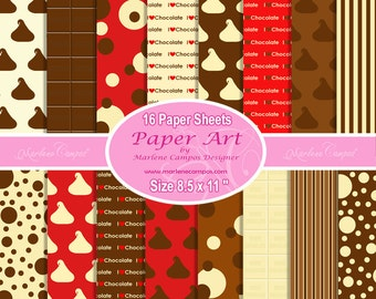 Chocolate digital papers, digital Backgrounds, Chocolates paper, Printable Background, Personal and Commercial use - INSTANT DOWNLOAD