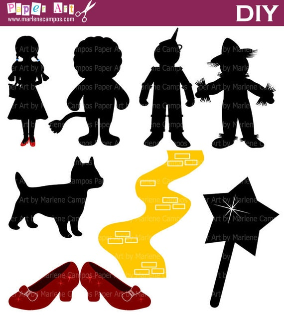 Wizard of OZ Silhouette Clip Art, Inspired, Wizard of oz party, Wizard of oz birthday, Personal and Commercial - INSTANT DOWNLOAD