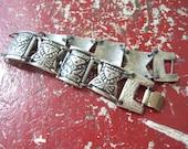 Vintage Embossed Metal Tribal Bracelet