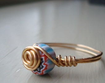 Blue/Multicolored Wire-Wrapped Ring