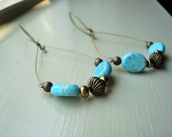 Turquoise, Brown, & Gold Earrings