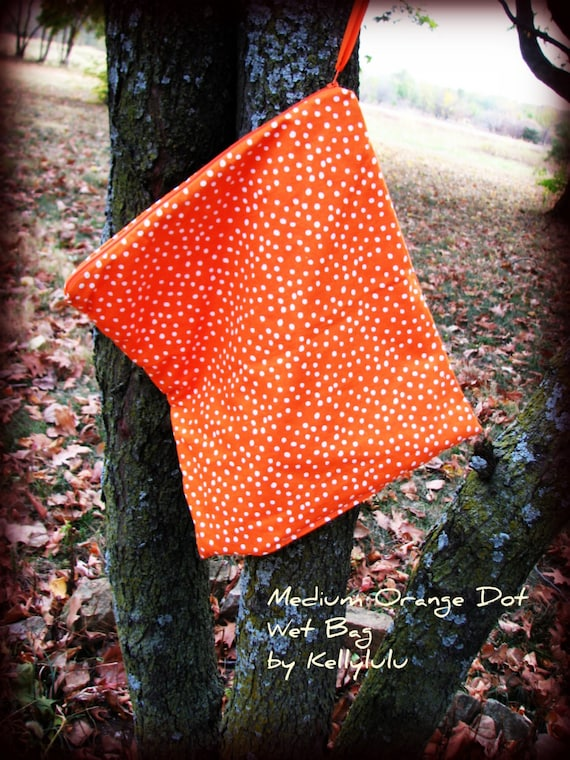 "Wet Bag Orange Polka Dot Fabric  for cloth diapers 13"" x 15"" size medium  with zipper top"