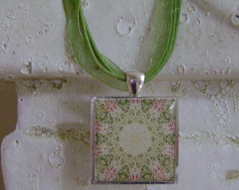 Shabby Chic Floral Pendant  Necklace