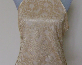 Gold Scalloped Lace Halter