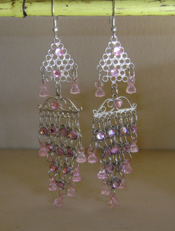 Pink Crystal Chandelier Earrings by BellasChicCollezione
