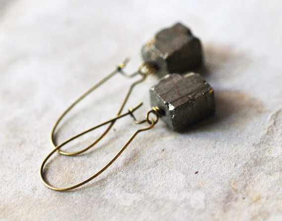 no. 105 - rough pyrite cube and brass kidney wire earrings