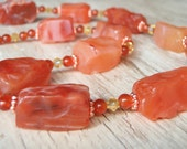 50% OFF CLEARANCE ~ Carnelian Chunks and Yellow Crystal Necklace and Earring Set