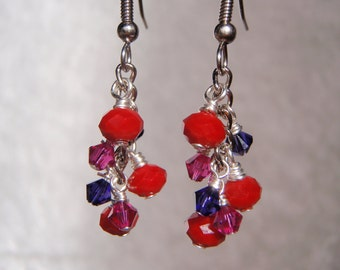 Dangly Earrings with Red Sparkly Glass and Pink and Purple Swarovski Crystal