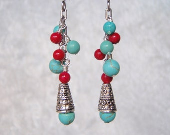 Fuchsia Pink and Turquoise Dangly Stone Earrings