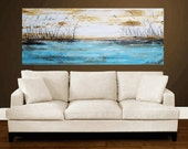 blue creme painting abstract painting ,abstract art, wall art  large painting ,canvas painting landscape painting
