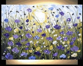 """36"""" original wilde white,violet  textured poppis from listed artist jolina anthony gallery back wrap stretched canvas"""