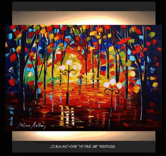 original jolinas palette knife impasto nightpark abstract oil painting from listed artist jolina anthony extrem fast shipping