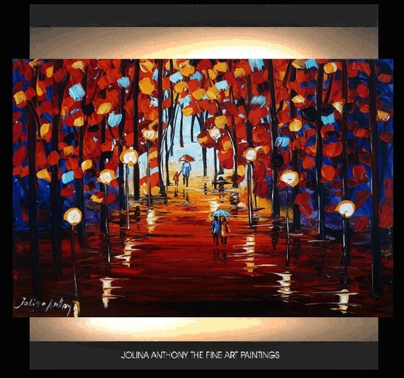the walk  original jolinas one of a kind impasto abstract painting from listed artist jolina anthony gallery back wrap stretched canvas