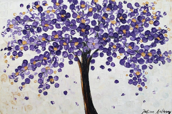 original violet  blossoms Tree Impasto super thick textured abstract  painting  from Jolina,,fantastic style,unique oil painting