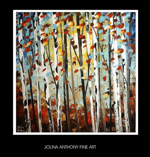 original turquoise brown abstract birch trees painting from  jolina anthony gallery back wrap stretched canvas