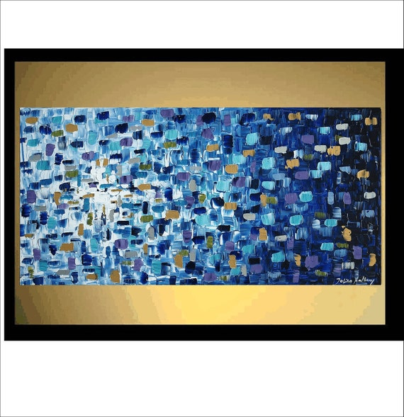 """48"""" Abstract  Blue,turquoise,gold,silver palette knife  fe painting from listed artist jolina anthony gallery back wrap stretched canvas"""