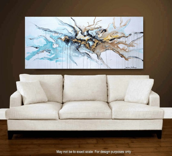 """48"""" Abstract  ,turquoise,gold,palette knife  fe painting from listed artist jolina anthony gallery back wrap stretched canvas"""