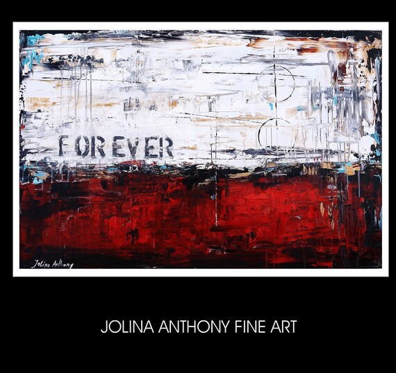 Forever   Original abstract, creme,white,gold, red textured abstract painting from listed artist Jolina Anthony