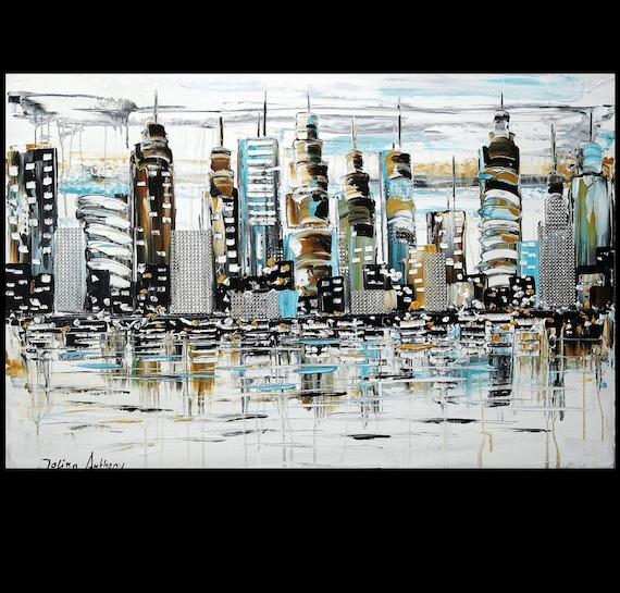 original Luxus glitter 3 D Collage City Mixed Media Painting from  jolina anthony gallery back wrap stretched canvas